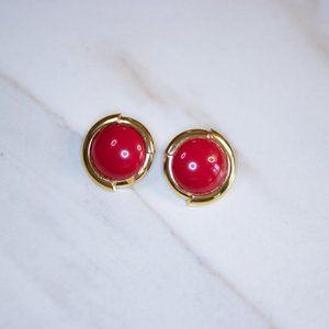 VINTAGE MONET RED AND GOLD STATEMENT EARRINGS